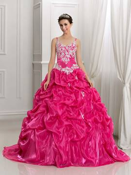 2a54ee1b448 Ericdress Spaghetti Straps Appliques Pick-Ups Ball Gown Quinceanera Dress