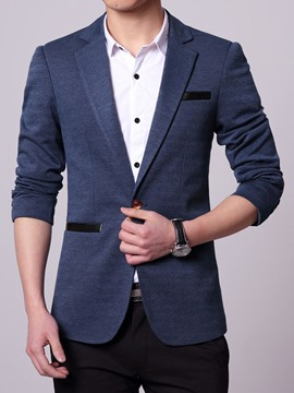 Ericdress Patched Slim One Button Men's Blazer