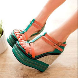 Ericdress Contrast Color Wedge Sandals
