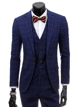 Ericdress Plaid Slim Three-Piece of Men's Casual Suit