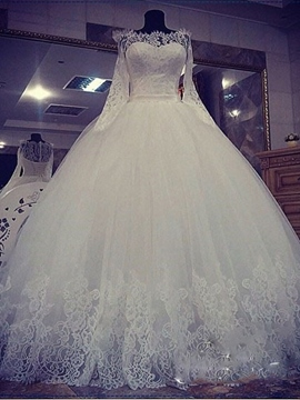 Ericdress Floor-Length Ball Gown Lace Off-The-Shoulder Church Wedding Dress