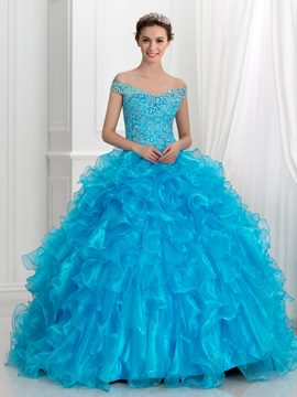 Crystal Ericdress Off-The-Shoulder volants dentelle robe boule robe de Quinceanera