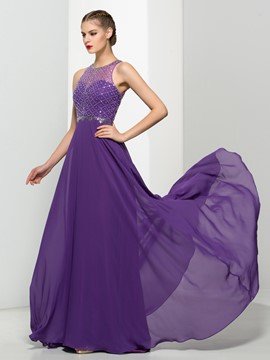 Ericdress A-Line Jewel Neck Beading Regency Prom Dress
