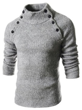 Ericdress Plain Unique Stand Collar Pullover Men's Sweater