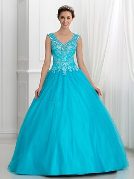 Ericdress V-Neck Appliques Beading Ball Gown Quincanera Dress