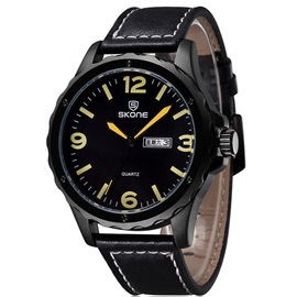 Ericdress Casual Numerals Dial PU Belt Watch For Men