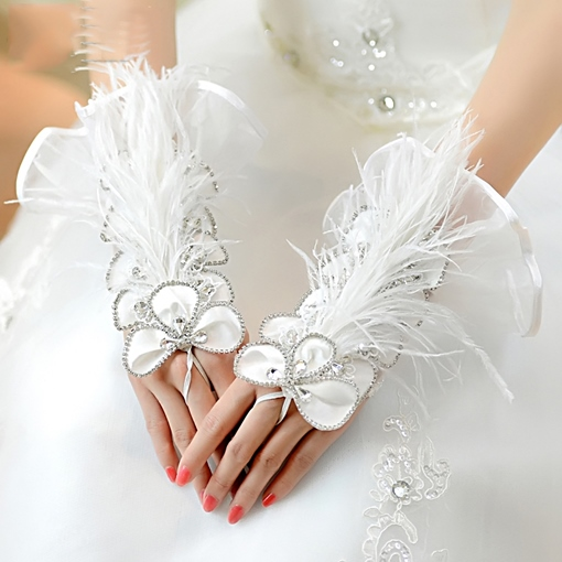 Diamonds Wrist Fingerless Wedding Gloves 2019