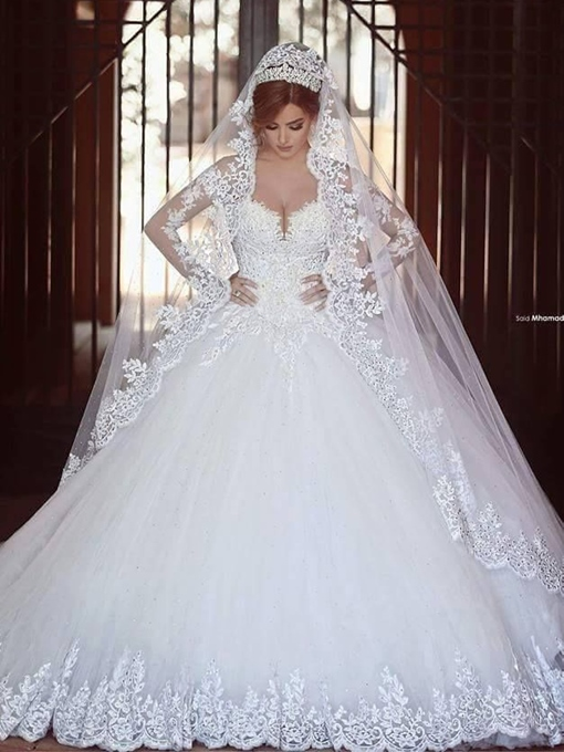 Ericdress Long Sleeve Appliques Beading Ball Gown Wedding Dress 2019