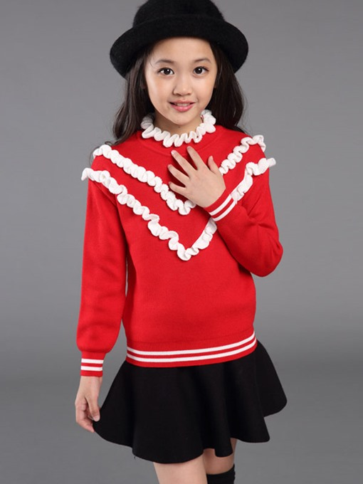 Ericdress Sweet Color Block Girls Sweater