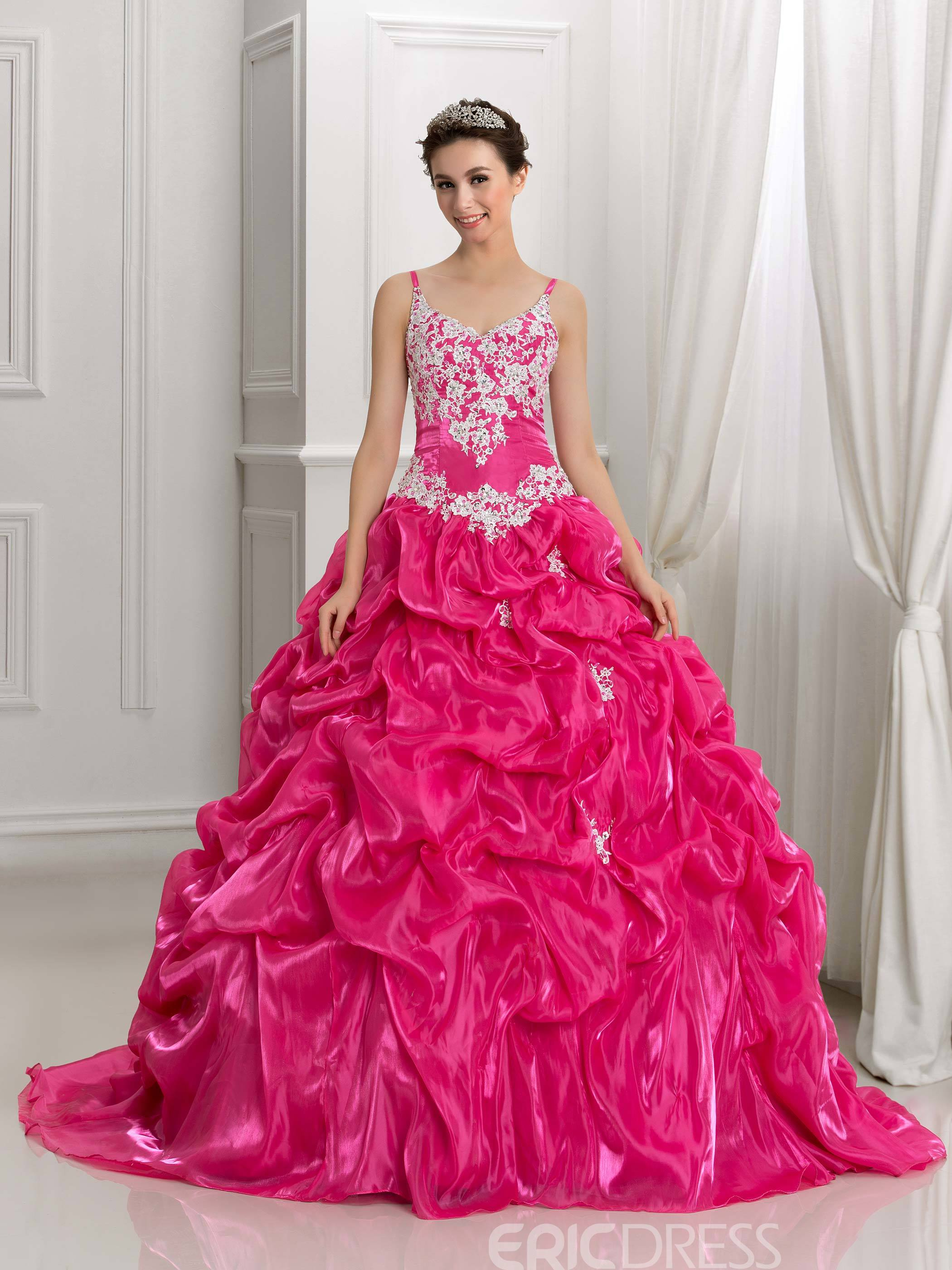 Ericdress Spaghetti Straps Appliques Pick-ups Ball Gown Quinceanera Dress