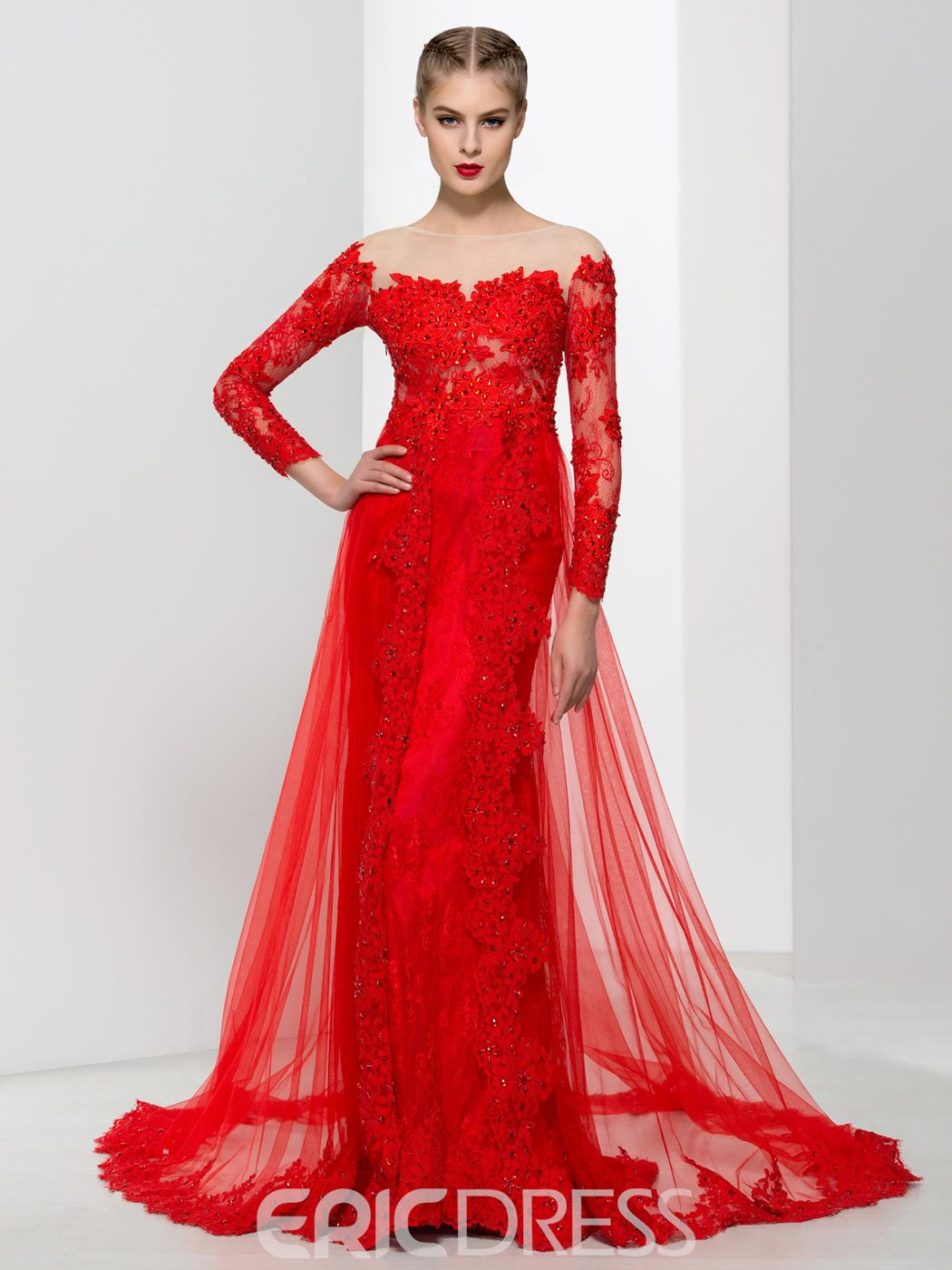 Ericdress Elegant Long Sleeves Appliques Beading Lace Evening Dress