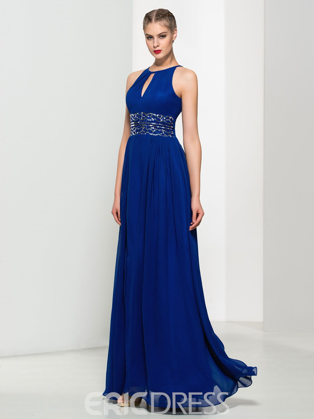 Ericdress A-Line Keyhole Neck Sequins Split-Front Long Prom Dress