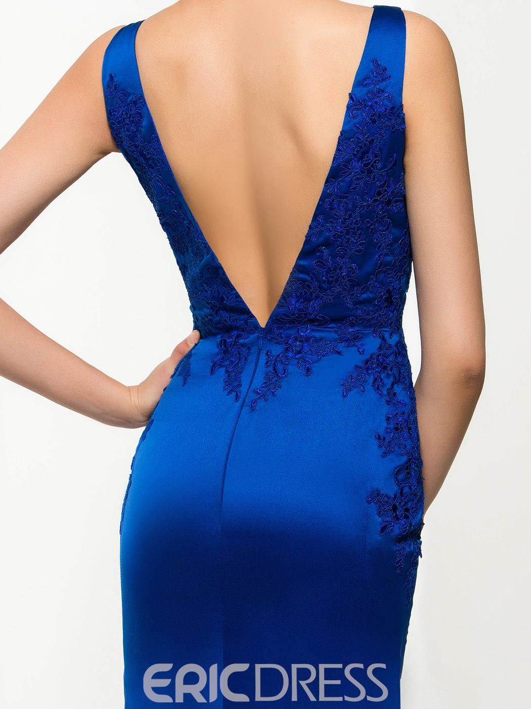 Ericdress Elegant V-Neck Appliques Mermaid Evening Dress