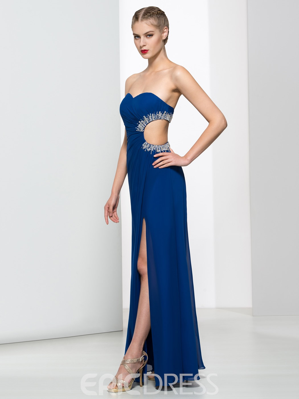 Ericdress Sweetheart Beading Split-Front Hollow Prom Dress