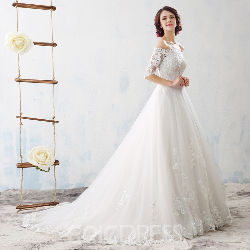 Ericdress Beautiful Off The Shoulder Half Sleeves Wedding Dress