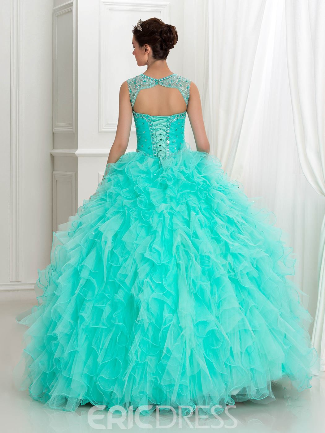 Ericdress Cascading Ruffles Beading Hollow Lace-Up Ball Gown Quinceanera Dress
