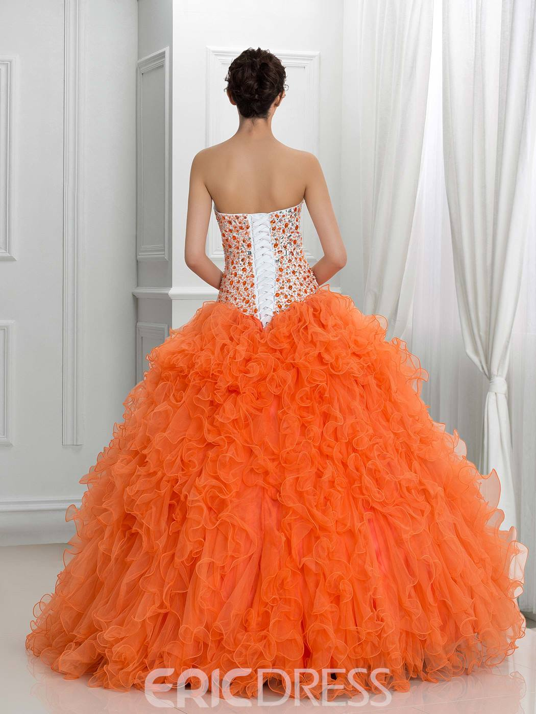 Ericdress Sweetheart Crystal Ruffles Ball Gown Quinceanera Dress With Jacket/Shawl