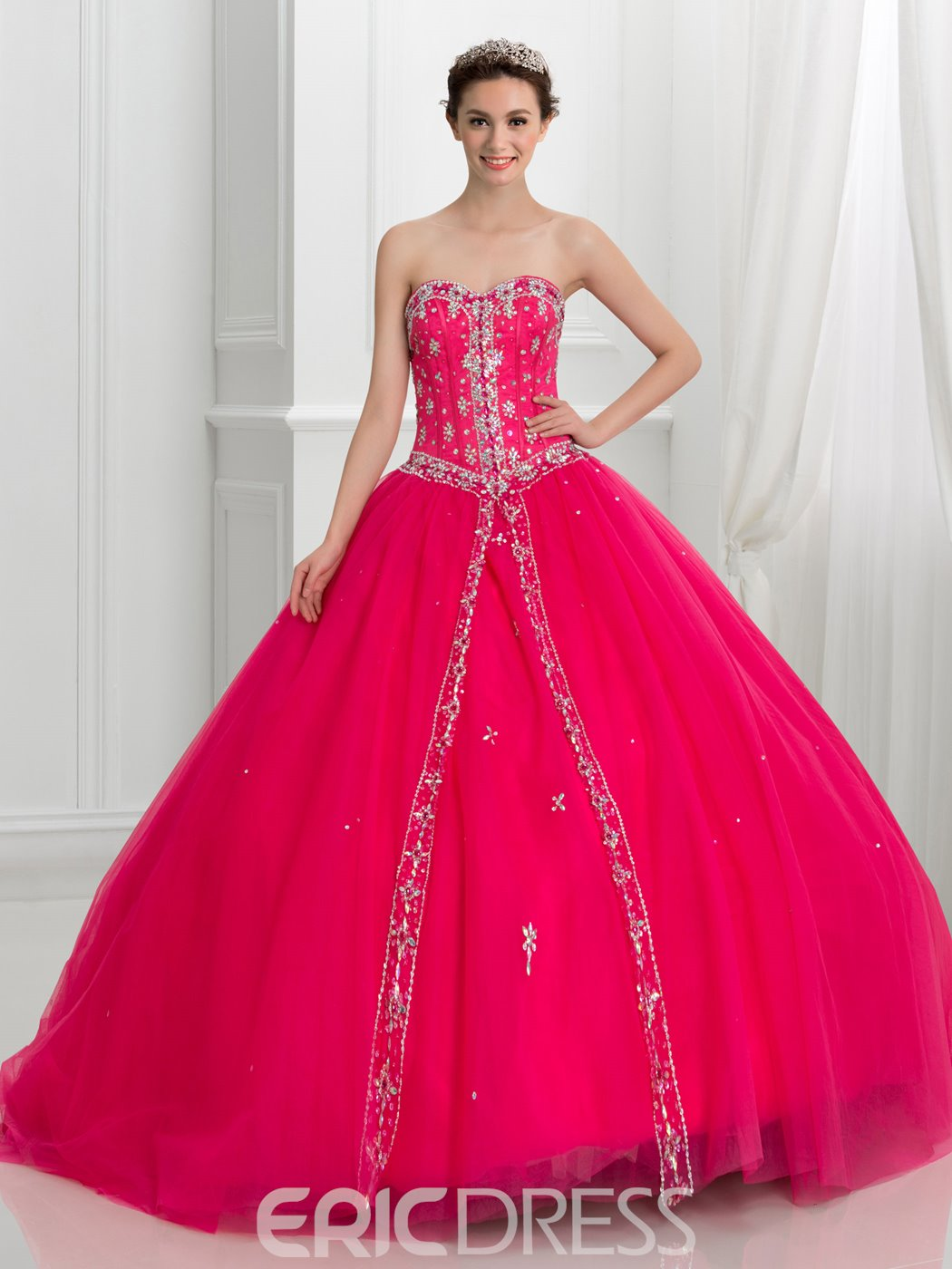 Ericdress Dramatic Sweetheart Beading Lace-Up Quinceanera Dress