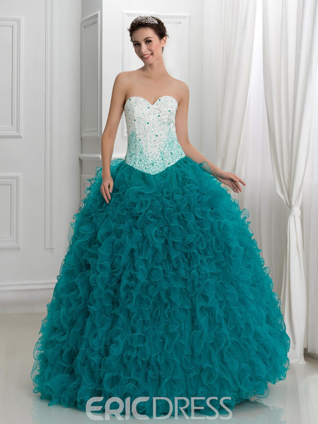 Ericdress Sweetheart Ruffles Beading Ball Gown Quinceanera Dress