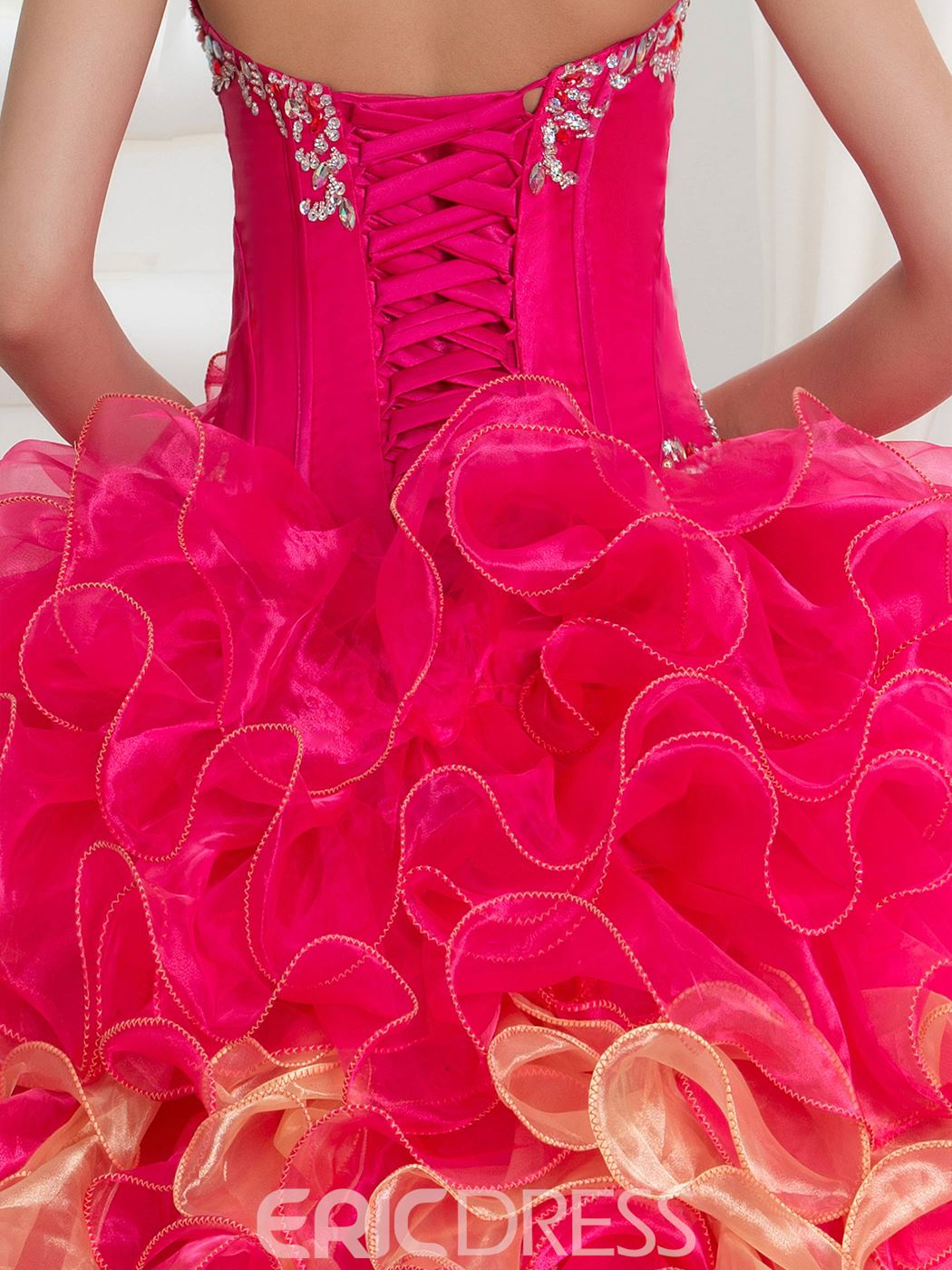 Ericdress Beading Cascading Ruffles Dramatic Ball Gown Quinceanera With Jacket/Shawl
