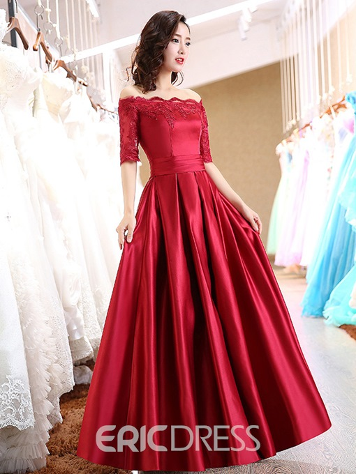 Ericdress Off The Shoulder Appliques Half Sleeves Red Prom Dress