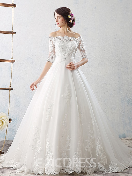 Ericdress Off The Shoulder Appliques Half Sleeves Wedding Dress