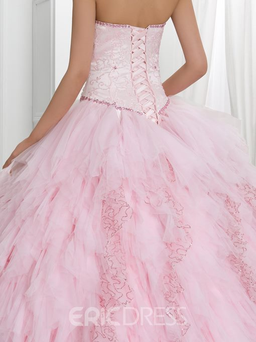 Ericdress Beading Sequins Tiered Ball Gown Quinceanera Dress With Jacket/Shawl
