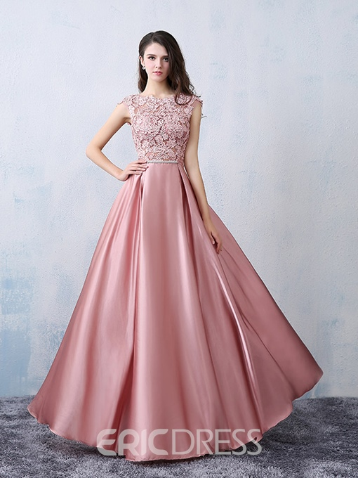 Ericdress Cap Sleeves Appliques Bowknot Prom Dress