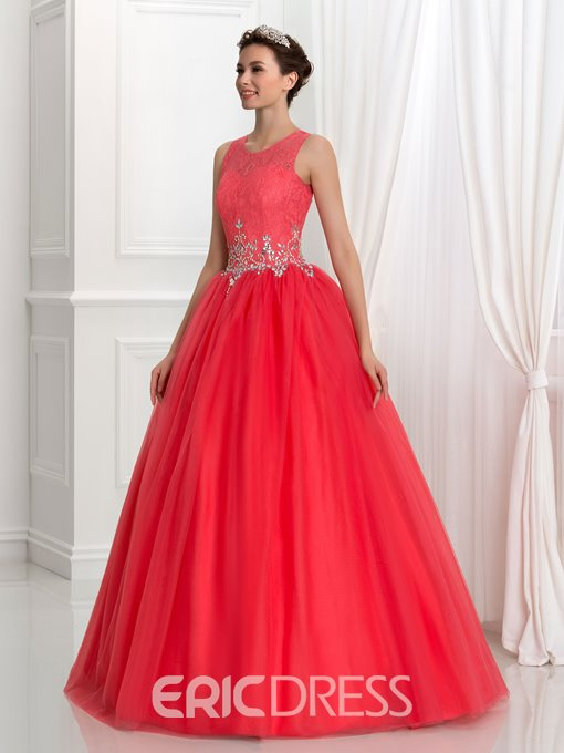 Ericdress Scoop Neck Beading Lace Quinceanera Dress