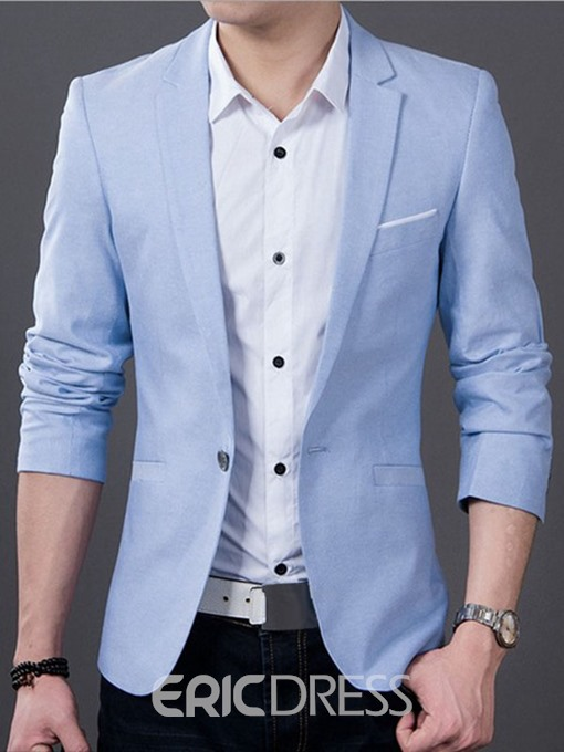 Ericdress Notched Lapel Solid Color Thin Slim Men's Blazer