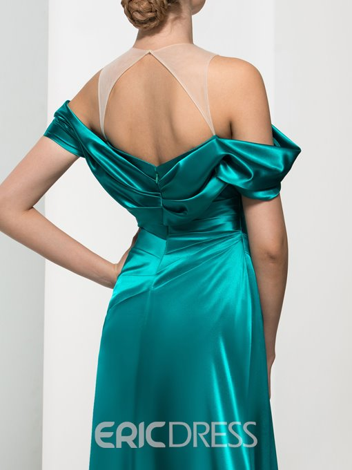 Ericdress Off-The-Shoulder Pleats Draped Long Evening Dress