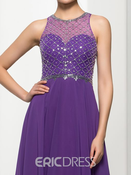 Ericdress A-Line Jewel Neck Beading Long Prom Dress
