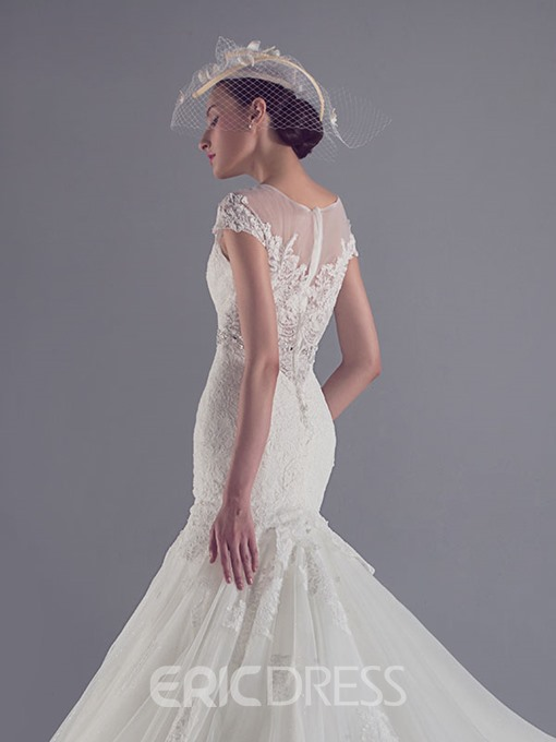 Ericdress Cap Sleeve Beading Lace Mermaid Wedding Dress