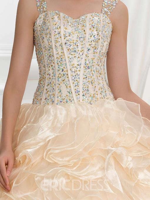Ericdress Straps Beading Crystal Ruffles Ball Gown Quinceanera Dress