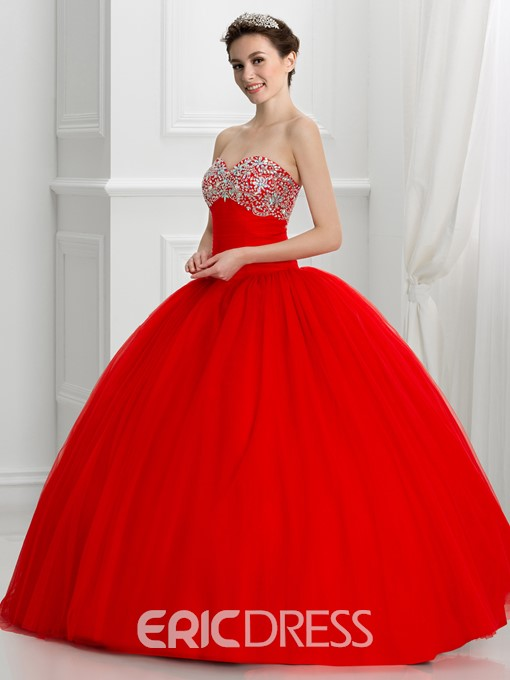 Ericdress Sweetheart Beaded Lace-Up Quinceanera Dress