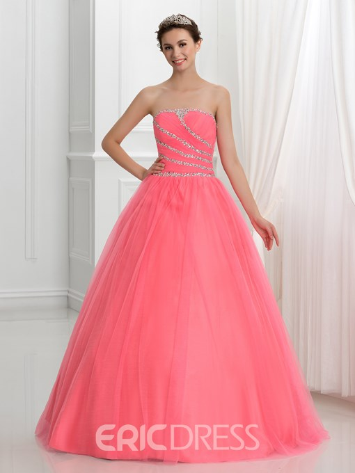 Ericdress Strapless Sequins Beading Lace-Up Quinceanera Dress