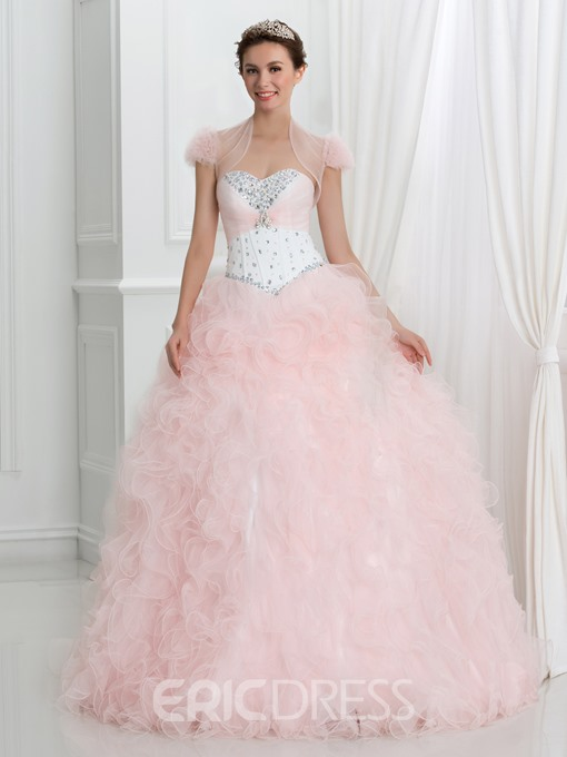 Ericdress Sweetheart Beading Ruffles Ball Gown Quinceanera Dress With Jacket/Shawl