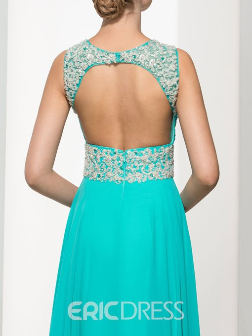 Ericdress Backless Straps Beading Pleats Long Prom Dress