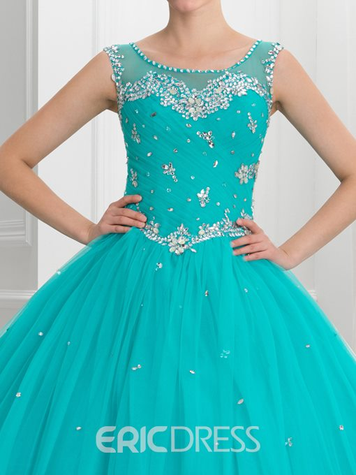 Ericdress Scoop Neck Beading Pleats Button Quinceanera Dress