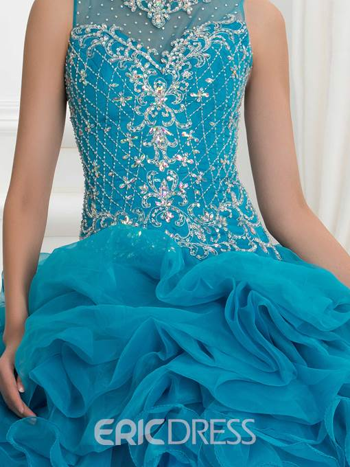 Ericdress Straps Beading Embroidery Ruffles Ball Gown Quinceanera Dress