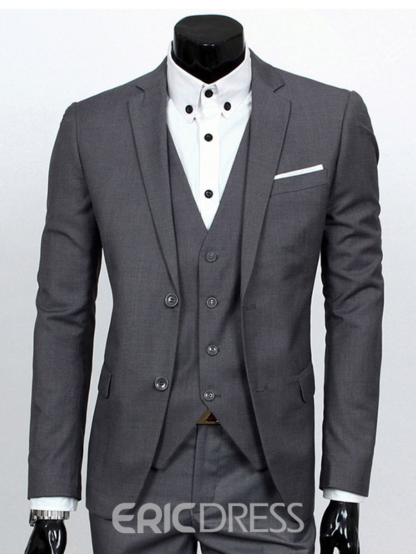Ericdress Solid Color Slim Three-Piece of Men's Casual Suit