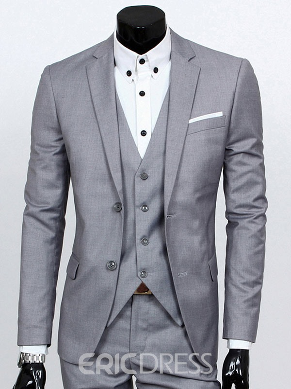 Ericdress Solid Color Slim Three-Piece of Men's Casual Suit ...