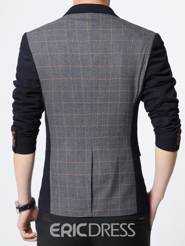Ericdress Color Block Plaid Slim Men's Blazer