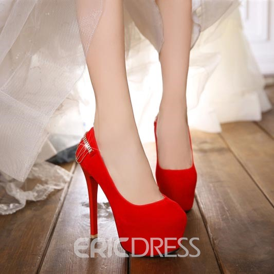 Ericdress Suede Metal Chains Decorated Furry Pumps