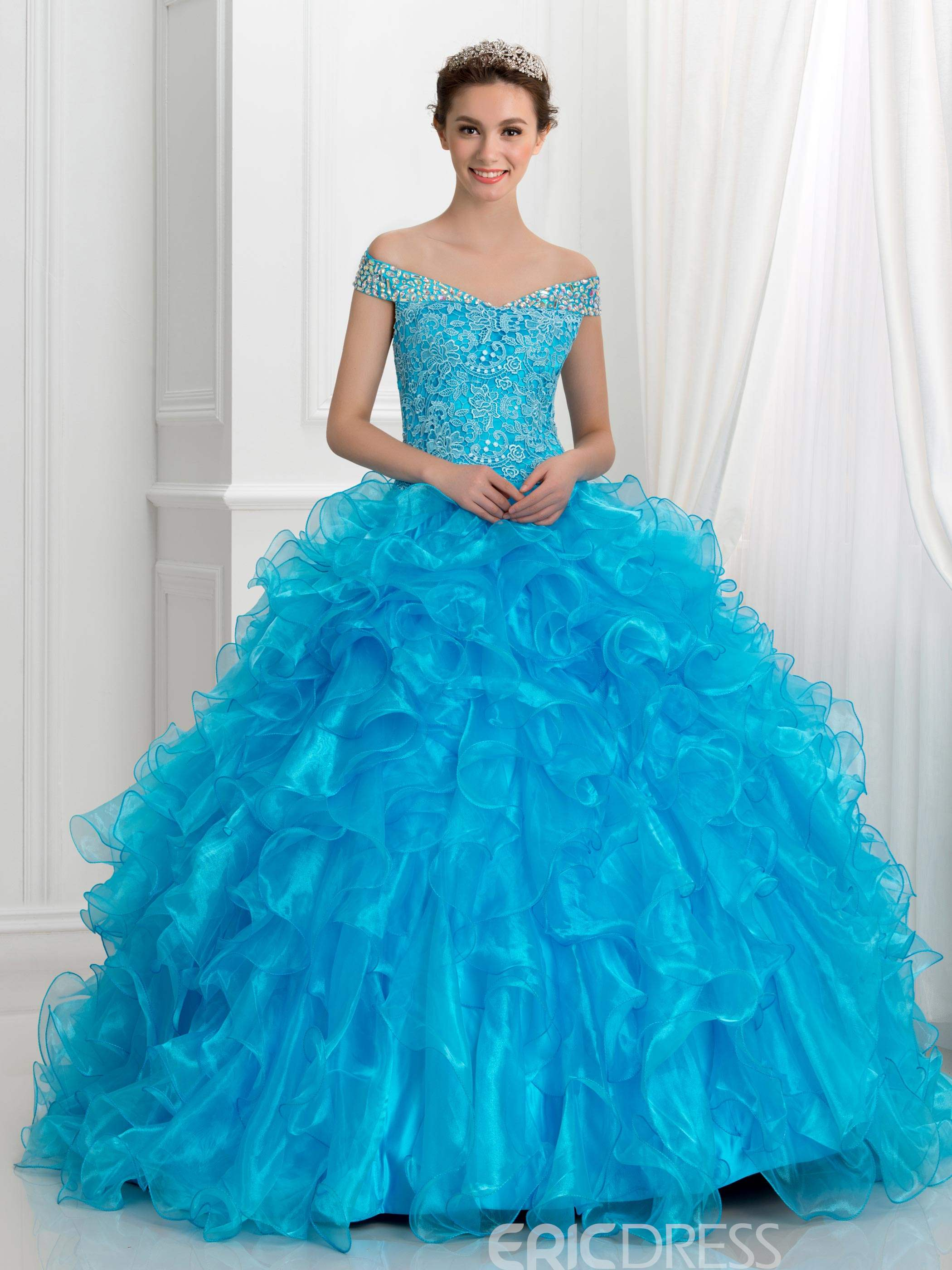 Ericdress Off-The-Shoulder Crystal Ruffles Lace Ball Gown Quinceanera Dress