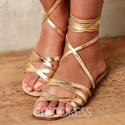 Ericdress Golden Crossed Straps Flat Sandals