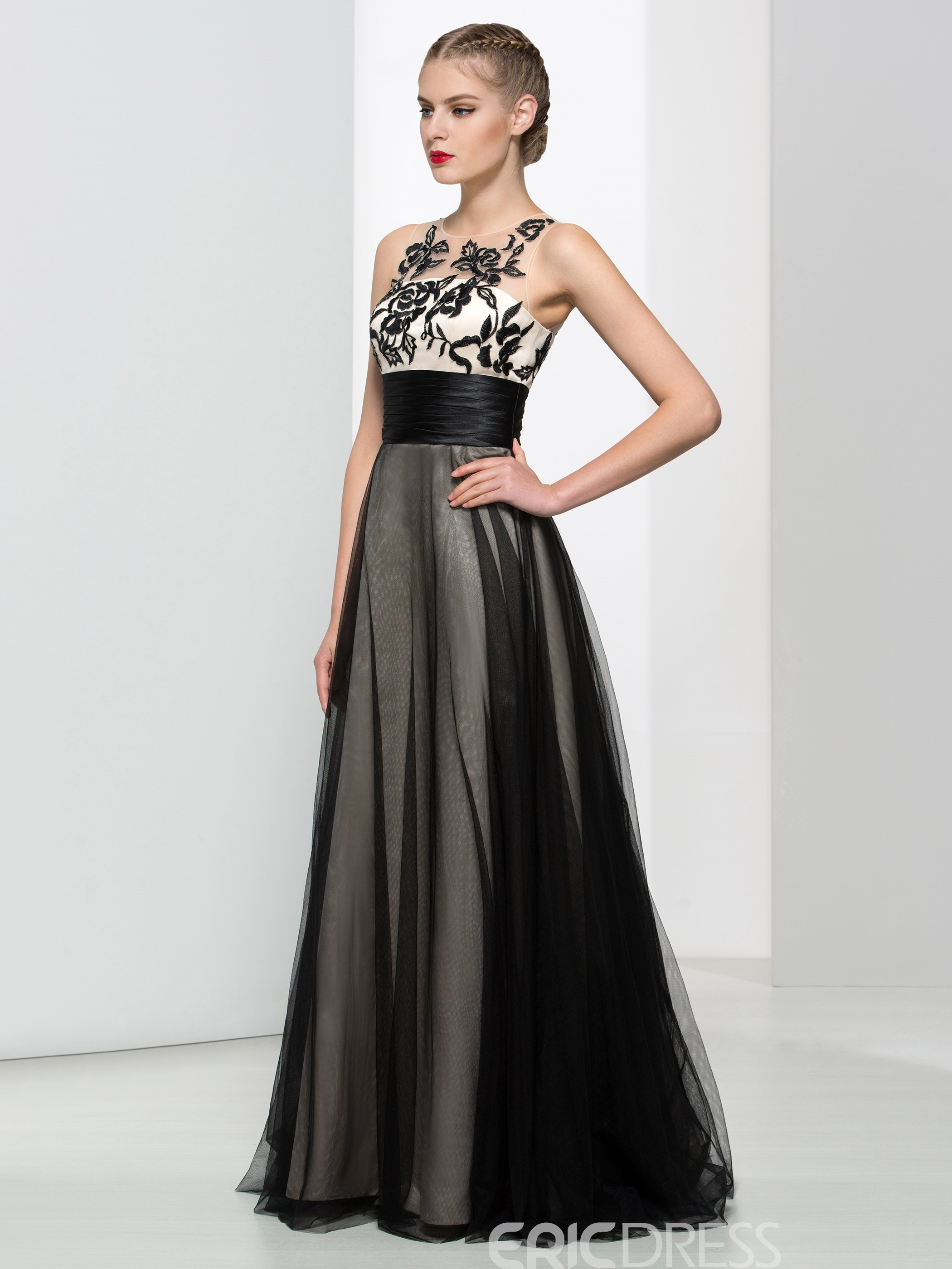 Ericdress A-Line Straps Embroidery Pleats Evening Dress