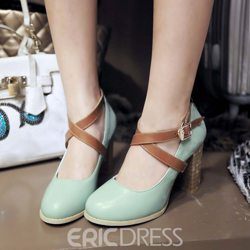 Ericdress PU Cross Strap Chunky Heel Pumps