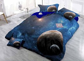 3D Planets and Galaxy Design Satin Drill 4-Piece Duvet Cover Sets