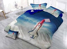 Awesome 3D Spacecraft Printing Satin Drill 4-Piece Duvet Cover Sets
